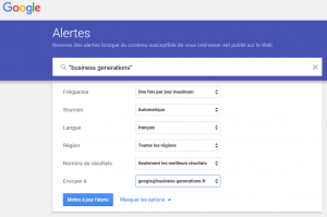Alerte Google sur Business Generations